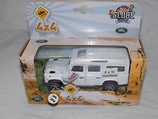 Kids Globe 1.32 Scale Land Rover Defender Pull Back with Lights and Sounds White