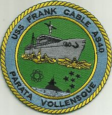 USS FRANK CABLE AS-40 SUBMARINE TENDER MILITARY PATCH - PARATA VOLLENSQUE