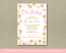 Oh Baby Blush Pink & Gold Glitter Printable Baby Shower Invitation Editable PDF