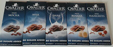 CAVALIER NO SUGAR ADDED DIET  LOW CARB  BELGIAN CHOCOLATE 5 BAR SELECTION