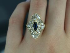 $5,500 14K Yellow Gold Blue Sapphire Round Baguette Diamond Cocktail Ring Band