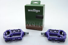 WELLGO MG-1 MG1 MAGNESIUM MOUNTAIN BIKE PEDALS FLAT CAGE PURPLE NEW