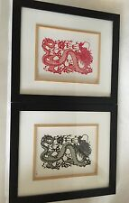 Chinese Dragon Paper Cut Art 1 Red 1 Black Framed Bamboo Trimed Matted, Glass