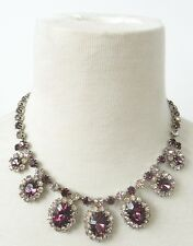 Rare Signed MADE IN AUSTRIA Purple Violet Rhinestone Faux Amethyst  Necklace Q