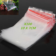 100 Small Clear Bags Plastic Poly Baggy Grip Self Seal Resealable Zip Lock10*7cm