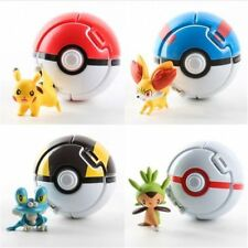 4PCS Throw Bounce Pokemon Pokeball Pikachu Pop-up Elf Go Fighting Poke Ball Toys