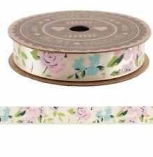 Shabby Chic Vintage Crema Floral Rosa De Cinta De Raso 5m Boda Craft Envoltura De Regalo