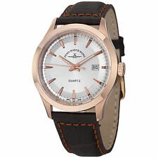 Zeno Mens 6662-515QPGR-F3 VintageLine Silver Dial Brown Leather Strap Watch