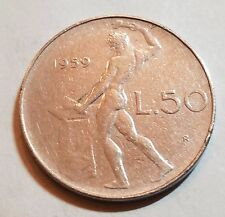 1959 50 Lire Italy Coin