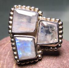 Sterling silver cocktail cut rainbow moonstone wide ring UK O½-¾/US 7.5-7.75