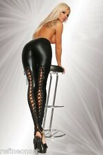 Ladies Gothic Punk Wet Look PVC Like Lace Up Back Leggings Pants Clubwear