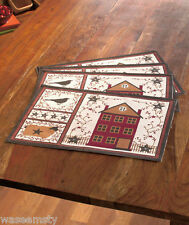 Country Primitive Home House Star Berry Folk Art Kitchen Table Placemat Set