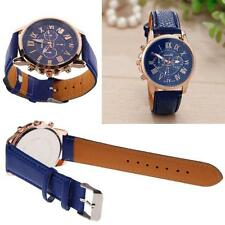 Geneva Lady Watch Faux Leather Band Analog Quartz Roman Numerals Watch Dark New