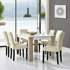[en.casa] Dining table white with 6 Chairs cream 140x90cm area Faux leather Set