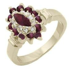 14K GOLD EP 1.95CT DIAMOND SIMULATED RUBY RING 9 or R 1/2