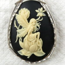 Magnolia Fairy Cameo Pendant .925 Sterling Silver Jewelry Black Resin