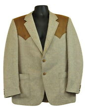 Vtg Blazer Prestige West Western Sports Coat Hip Rockabilly Folk Cowboy 70s Tan
