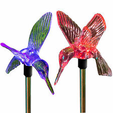 Solar Power Hummingbird Garden Stake Set of 2 Pathway Garden Lights Color Change
