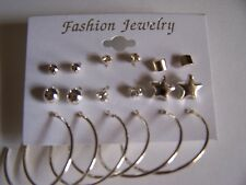 9 Pair Fashion Earring Set Silver, 6 Studs, 3 Hoops
