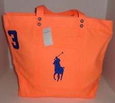 NEW POLO RALPH LAUREN MELON CANVAS BIG PONY TOTE BAG BEACH BAG CARRY ON