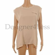 FIRETRAP Top Cream Sheer Front Jersey Back Cap Sleeved Size Large PT 46