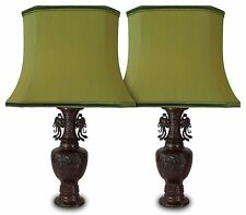 Pair of Antique Bronze Table Lamps of Chinese Origin with Green Silk Shades