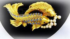 Vtg ELIZABETH TAYLOR for Avon Sea Shimmer Collection Koi Fish Brooch Pin Signed