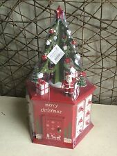 Gisela Graham hexagonal box with Santa and Christmas tree advent calendar 36cm