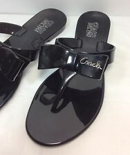 Coach Women's 6 M Black Pretty Bow Jelly Plastic Thong Sandals Flip Flops Flats