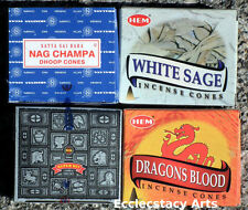 Hem White Sage-Dragons Blood-Satya Nag Champa-Super Hit Incense Cone Sampler New