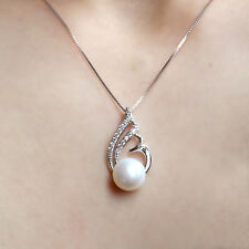 Freshwater Pearl Sterling Silver Necklace Pendant Swirl Twist Bridal Wedding
