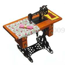 1:12 Scale Dolls House Miniature Metal Sewing Machine Wooden Table Haberdashery