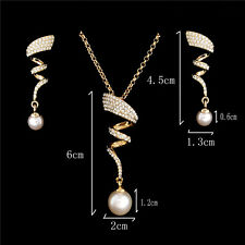 18K Gold Filled Austrian Crystal 44.5cm Necklace Pendant Earrings Jewelry Set