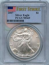 2007 PCGS MS 69 First Strike American Eagle .999 Silver Dollar - 1 oz Troy