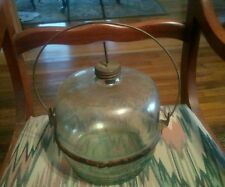Vintage 1914 Glass Reinforced Metal Kerosene Water Container Tank Filling Jar