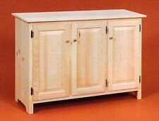 AMISH Unfinished Solid Pine ~ Rustic SIDEBOARD Buffet Storage Cabinet Country