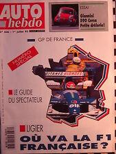 auto hebdo 1992 GUIDE GRAND PRIX FRANCE / ALPINE 610 TURBO MAGNY-COURS