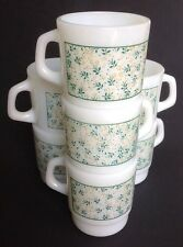 Lot 7 Vtg Termocrisa Milk Glass Mugs Coffee Cups Flowers *FLAWS-SEE LISTING*