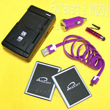 6 Accessory 1370mAh LG Extravert 2 VN280 Battery Car Dock Charger Sync Touch Pen
