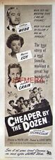 CHEAPER By The DOZEN Original 1950 Film Advert  - Clifton Webb Movie Ad