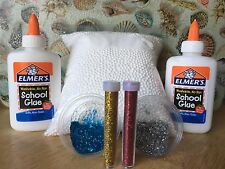SLIME Styrofoam BEAD Balls, 2 4 Ounce Elmers Glue And 2 Glitters 3-D Holographic