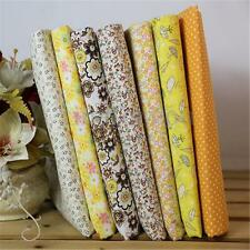 7Pcs 25x25cm Squares Yellow Cotton Fabric Patchwork DIY Cloth Sewing Quilting