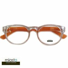 MIASTO RETRO ROUND PREPPY READER READING GLASSES GLASSES+1.75 GLITTERING/ORANGE