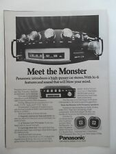 1976 Print Ad Panasonic High-Power Car Stereo ~ Meet the Monster