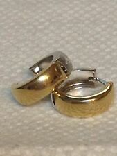 Solid 14k 2 Tone Yellow & White Gold Hoop Huggies Reversible Earring 2.10 G Gift