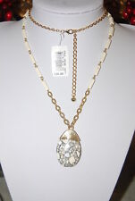 BEAUTIFUL LONG GOLD TONED METAL CHAIN &  NATURAL STONES PENDANT & LINKS NECKLACE