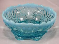 """Vintage Jefferson Glass Blue Opalescent Tokyo Pattern Footed Bowl Dish,Shell 7"""""""