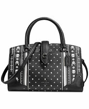 Coach 38355 Mercer 24 Dark Antique Nickel/Skull Bandana Pebble Leather Satchel