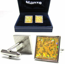 New Men's Cufflinks Cuff Link Square Wedding Formal Prom Gold Yellow #10