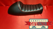 LS17 CAFE RACER BRAT SCRAMBLER LEATHERETTE SEAT IN BLACK WITH RED PIPING